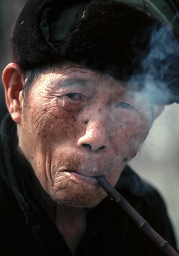 Man Smoking Pipe, Ghuizhou Province, China
